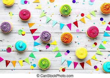 feestje, kleurrijke, achtergrond, cupcake