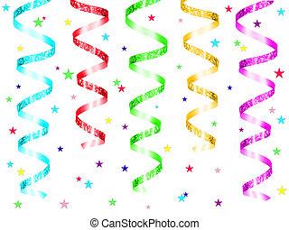 feestje, kleurrijke, lint, hangend