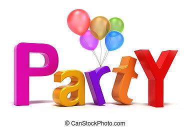 feestje, kleurrijke, woord, letters.