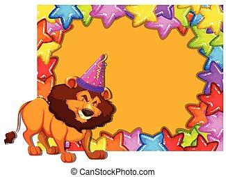 feestje, leeuw, kaart, uitnodiging