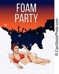 feestje, lucht, open, kleurrijke, poster