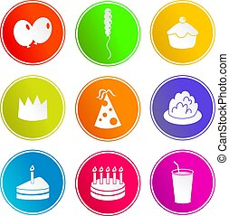 feestje, meldingsbord, iconen