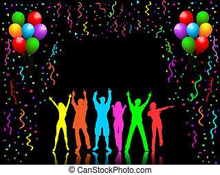 feestje, mensen, dancing
