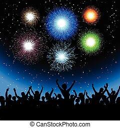 feestje, met, vuurwerk