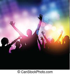 feestje, middernacht, mensen