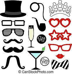 feestje, mustache, rekwisieten