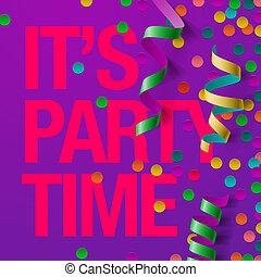 feestje, ontwerp, mal, met, wimpels, en, confetti