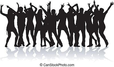 feestje, ontwerp, menigte