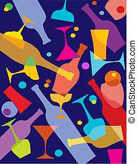 feestje, ontwerp, of, mal, bar