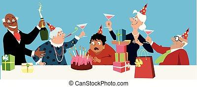 feestje, oude vrouw, jarig