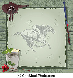 feestje, paard te rennen, invitation.