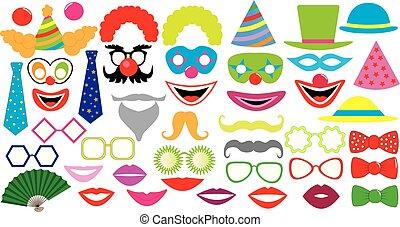 feestje, pet, icons., clown, hoedje, lippen, bril, vastknopen, set., mustaches, jarig, enz.