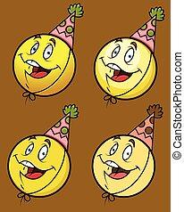 feestje, pet, lachen, smiley