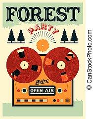 feestje, poster., bos, open lucht