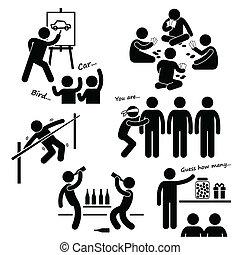 feestje, recreatief, spelen, clipart