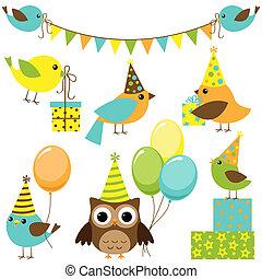 feestje, set, vogels