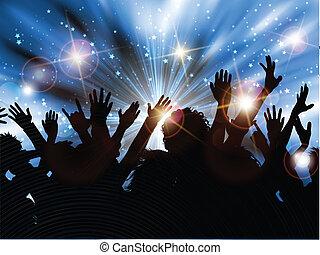 feestje, silhouette, menigte