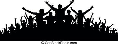 feestje, silhouette, mensenmassa