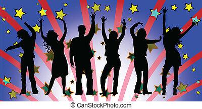 feestje, silhouettes, mensen
