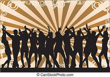 feestje, silhouettes, mensenmassa