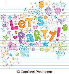 feestje, sketchy, jarig, tijd, doodles