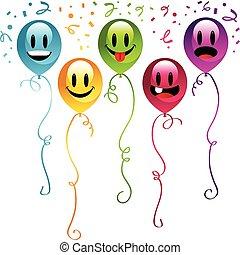 feestje, smiley, ballons