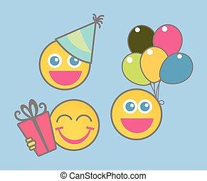 feestje, smiley, -, spotprent, viering