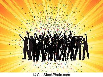 feestje, starburst, 2006, achtergrond, menigte