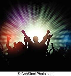 feestje, starburst, 2908, achtergrond, menigte