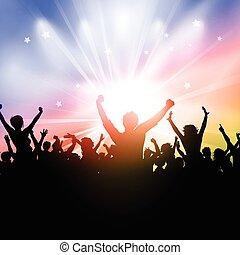 feestje, starburst, achtergrond, menigte