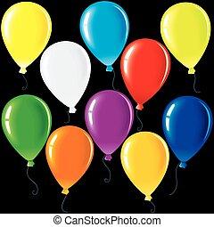 feestje, vector, balloons., illustratie, vrijstaand