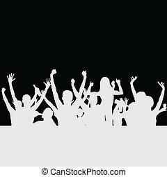 feestje, vector, silhouette, mensen