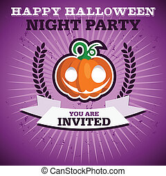 feestje, vrolijke , halloween, uitnodiging