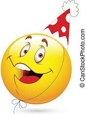 feestje, vrolijke , viering, smileygezicht