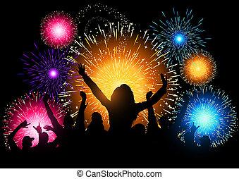 feestje, vuurwerk, nacht