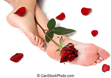 Feet and Rose - Pretty feet with single rose and loose...
