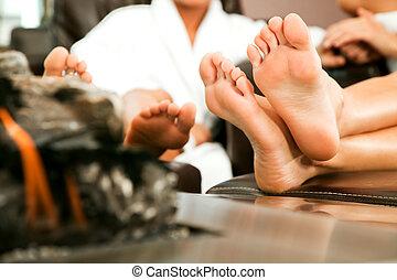 feet fireplace relax