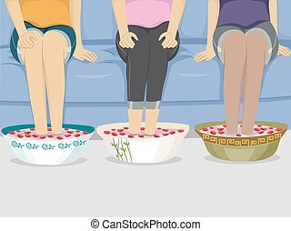 Feet Foot Spa Girls Friends - Illustration of a Group of...