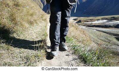 Feet hiking walking mountain