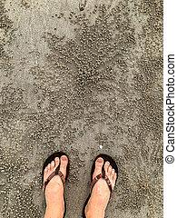 Feet in thongs Sand Bubbler Crab pellets