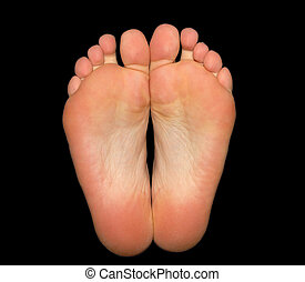 Feet isolated on black background with clipping-path...