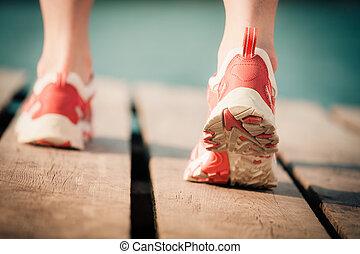feet, jogging, kobieta