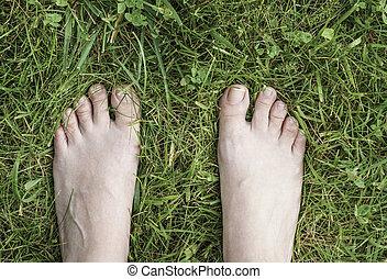 feet, kobieta, trawa