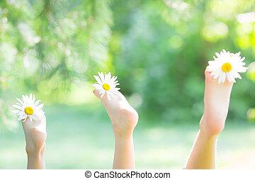 feet, kwiaty, rodzina