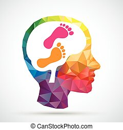 Feet Low Poly Human Head Explore Brain