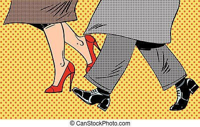 Feet man and woman in the Shoe go in bad weather on the street pop art comics retro style Halftone. Imitation of old illustrations