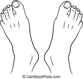 feet men top view from the contour black lines on white of...