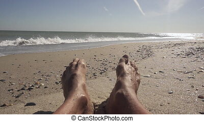 feet, morze, myjnia, fale, ludzki
