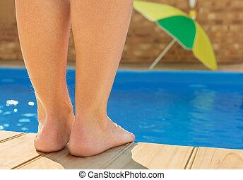 feet near pool