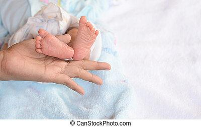 feet, nowo narodzony, do góry szczelnie, niemowlę
